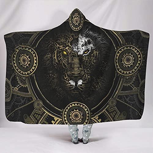 Ftcbrgifk Manta con capucha de león mecánico cómoda manta poncho manta abrigo silla usable capa para amigos blanco 127 x 152 cm