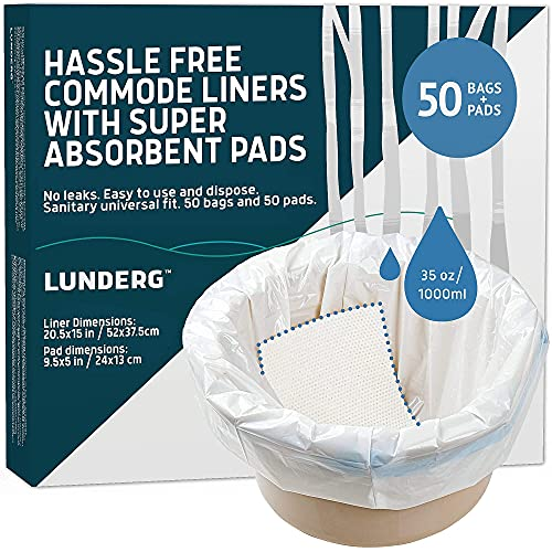 Lunderg Commode Liners with Absorbent Pads - Value Pack Medical Grade 50 Count Universal Fit - Disposable Bedside Commode Liners and Pads for Adult Commode Chairs, Portable & Camping Toilet Bags