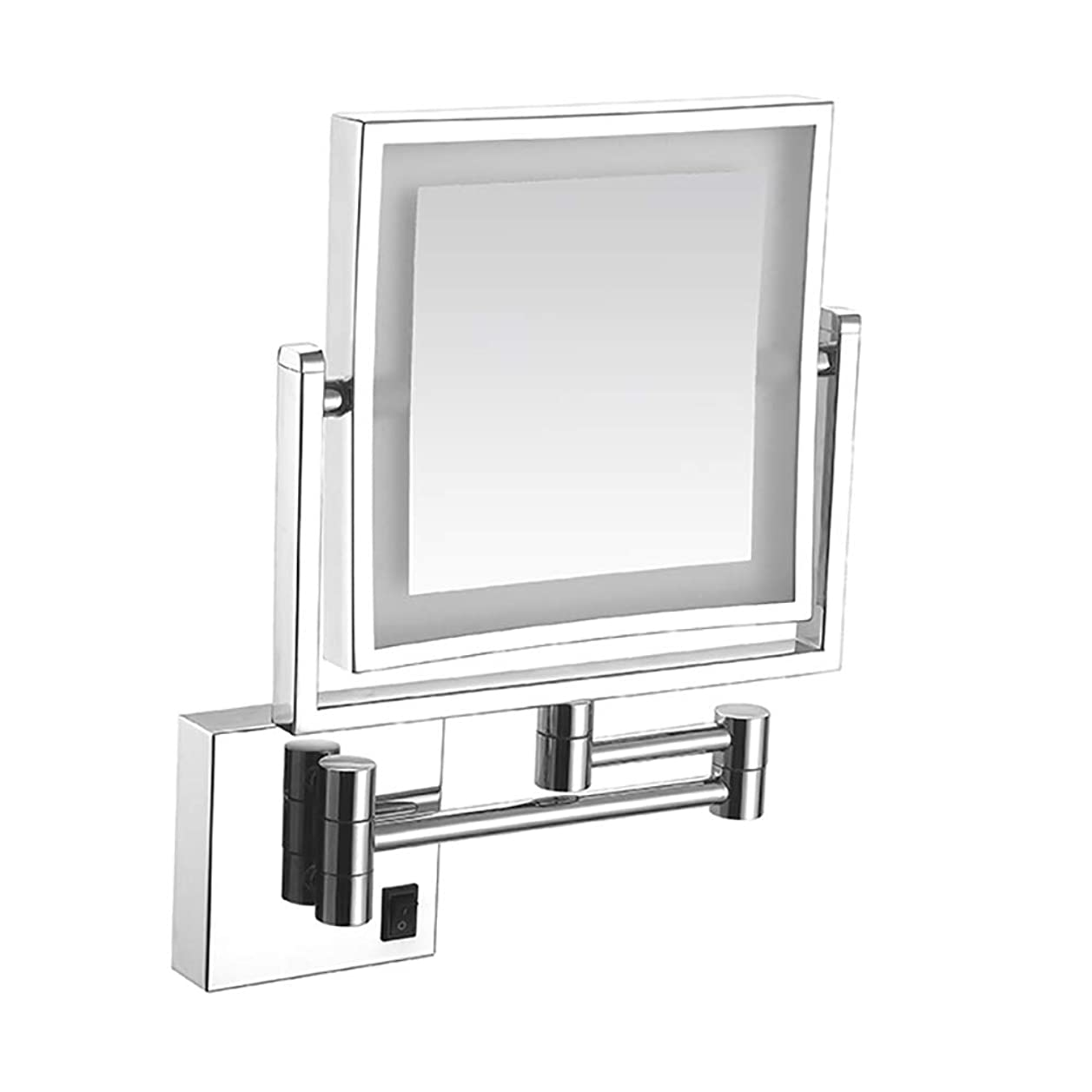 照明付き化粧鏡、倍率1倍/ 3倍、180度回転両面照明付き化粧鏡