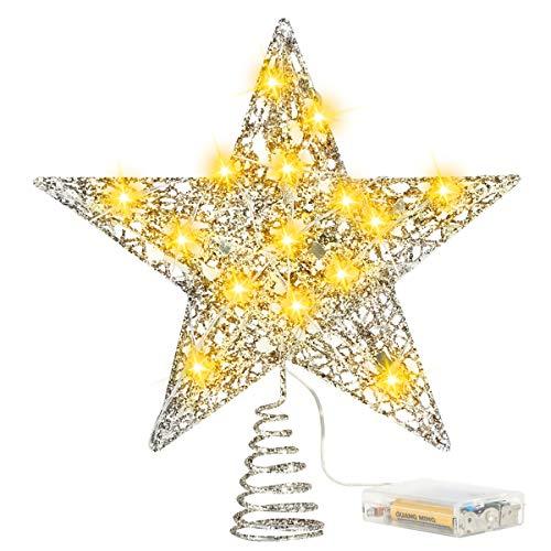 FAMKIT Cappello a Cilindro per Albero di Natale Illuminato con Luce Del Proiettore a Fiocchi di Neve a Led Stella Superiore Dell'albero Glitterato da 8 Pollici con Luci a Corda