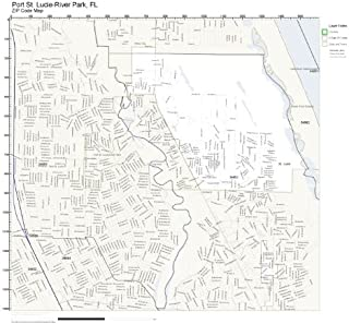 Working Maps Zip Code Wall Map of Port St. Lucie-River Park, FL Zip Code Map Not Laminated