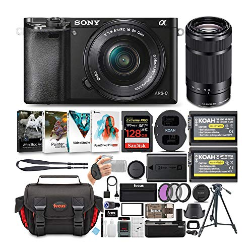 Sony Alpha a6000 24.3 MP Mirrorless ILC with 16-50mm and 55-210mm Lens Ultimate Camera Bundle