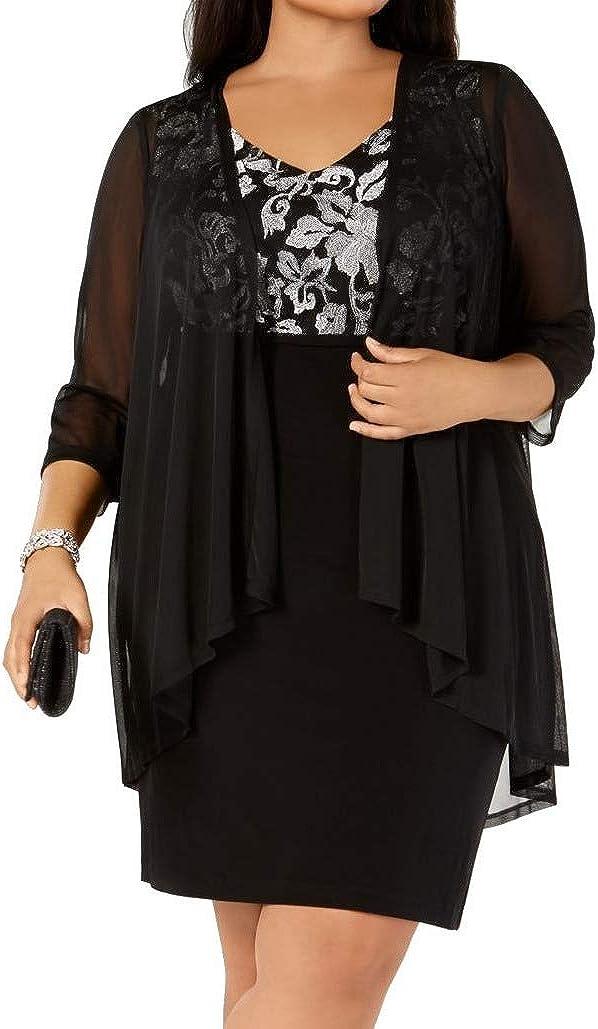 Connected Apparel Womens Plus Metallic Sheer Cocktail Dress Black 14W