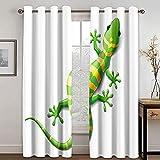 LucaSng Cortinas Opacas Habitacion Salon 3D Dibujos Animados Lindo Gecko Verde Patrón Cortinas 150X270CM (An X Al) Dormitorio Infantil con Ojales para Hogar Frio Calor Decoración Termicas Aislantes
