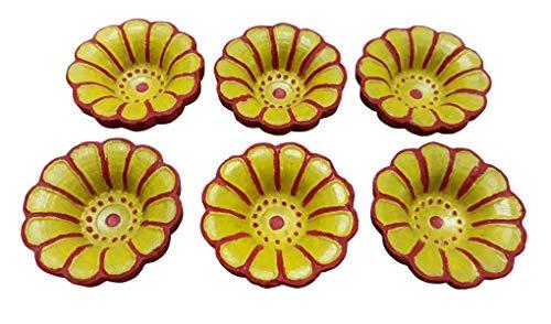 Indianbeautifilstore 8 Stück handgefertigte indische Rangoli-Öllampen aus Ton, traditionell/Pooja, Ton, Terrakotta, Dochtbrenner