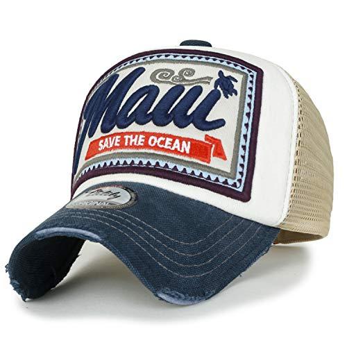 ililily Maui Stickerei Flicken Freizeitkleidung Netz Baseball Cap abgenutztes Aussehen Trucker Cap Hut, White&Navy