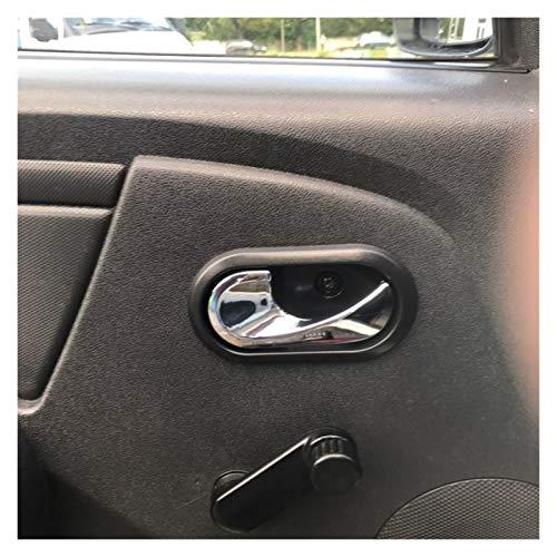 Reunion 4PCS Coche Interior Manijas para Puertas Ajuste para Renault Logan Dustner 2012-2016 8200733848 8200733847 (Color : Black Plating)