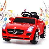 Kids Ride On Car, WATETJOY Ride-On Electric Car, Battery Powered Ride On Vehicle, Parental Remote Control and Foot Pedal Modes with MP3 Player, Headlights,Horn for Child Toys Red
