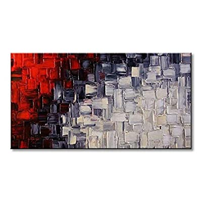 Seekland Art Handmade Red and White Abstract Canvas Wall Art Modern Contemporary Acrylic Painting for Living Room Unframed from Seekland Art