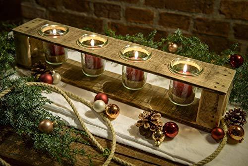 Adventskerzenhalter, Adventskranz, Weihnachtsdeko, aus Holz von Obstkiste mit 4 Gläsern, 4 roten Kerzen, Dekosand und Tau, Handgefertigt, Windlicht, Kerzenhalter, Laterne, Palette