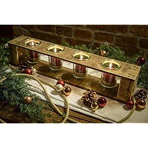 Adventskerzenhalter, Adventskranz, Weihnachtsdeko, aus Holz von Obstkiste mit 4 Gläsern, 4 roten Kerzen, Dekosand und…