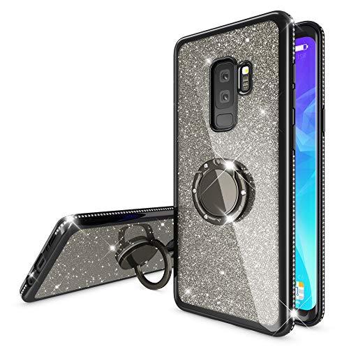 NALIA Ring Hülle kompatibel mit Samsung Galaxy S9 Plus, Glitzer Handyhülle Ultra-Slim Silikon Hülle Back-Cover mit 360-Grad Fingerhalterung, Schutzhülle Glitter Handy-Tasche Etui Skin, Farbe:Schwarz