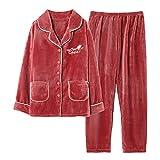 BuFanRenm camisón, Conjuntos de Pijama de Invierno para Mujer, Ropa de Dormir para el hogar, Ropa de Dormir de Franela de Talla Grande M-3XL XL MDF8006