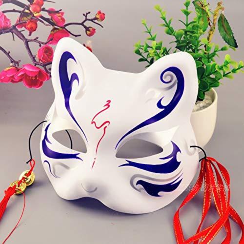 Mascara de baile máscara pintada a mano zorro cara, máscara de gato de estilo japonés 40g, la máscara de macho y hembra de baile cara de gato, PVC mitad de la cara y el viento máscara ecológico mascar