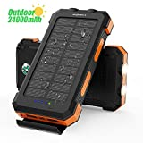 Solar Power Bank X-DRAGON 24000mAh Waterproof Portable Solar Charger with Dual Input