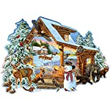 Bits and Pieces - 300 Piece Shaped Jigsaw Puzzle for Adults - Winter Cabin - 300 pc Snowman Forest Animals Jigsaw by Artist Cory Carlson