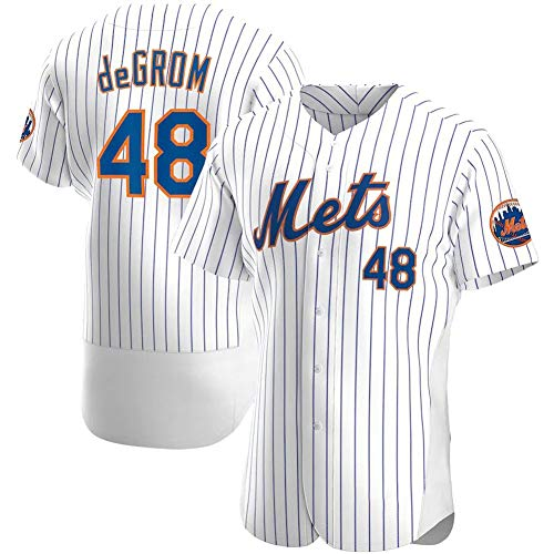 de Grom Mets # 48 Herren-Baseballtrikot, Besticktes Sweatshirt Kurzarm-T-Shirt Spiel Team Uniform Buttoned Top S-3XL-White Stripes A-L