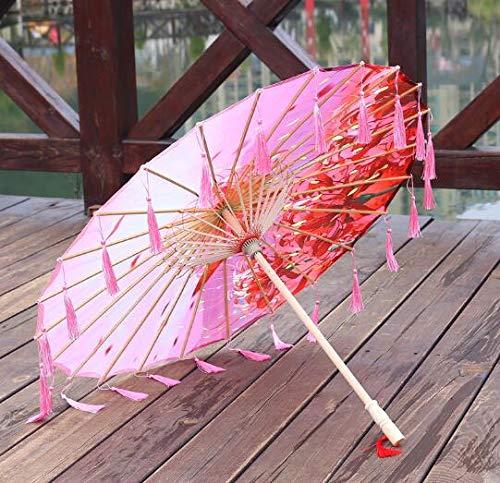 TSP Sombrilla de tela de seda con encaje para mujer, para fotografía de disfraces, con borlas, paraguas de papel de aceite clásico chino (color: hombre Jyu Sha Ge)