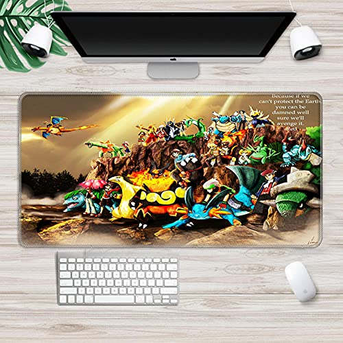 Gaming Mouse pad Pokemon Mousepad Gamer Gaming Mouse Pad Large 3D Notebook Pc Accessories Laptop Hd Pattern Ergonomic Mat E L(30x70cm)