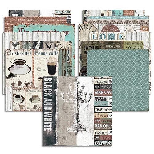 Somedays 24 Blatt Scrapbooking Papier Gemustertes Karton Bastelpapier mit Vintage Design für DIY Handwerk Foto Hintergrund Deko 6 Zoll