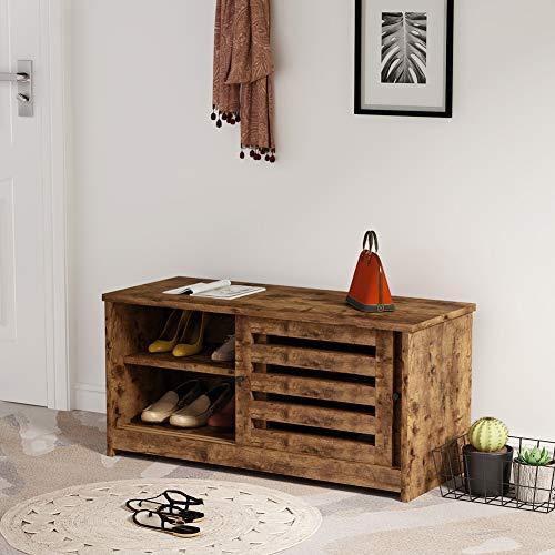Tribesigns Zapatero Banco Organizador de Zapatos, Banco de almacenamiento de zapatos con puerta corredera y estantes de almacenamiento para entrada, baño, sala de estar, pasillo, entrada, pasillo