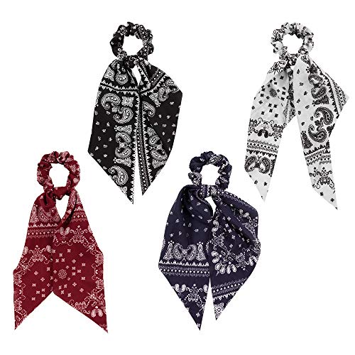 YOHAMA Retro Long Scrunchie Girls Scarf Scrunchy Bandana Hair Tie with Ribbon for Women Scrunchies Tails 2 in 1 Soft Hair Accessories Ponytail Holder Decoration Bun, As Gifts.