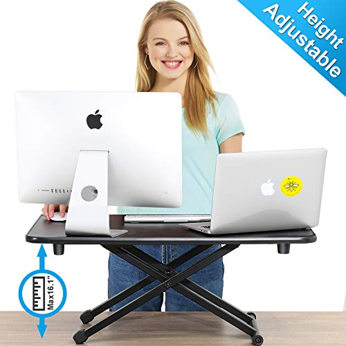 FITUEYES Height Adjustable Standing Desk Gas Spring Riser Desk Converter for Dual Monitor Sit to...