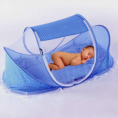YZW Faltbare Babybett Dachhaube, Safe Portable Baumwolle Moskitonetz Netz Netz Zelt -blau Free Size