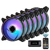 Easydiy 120mm RGBケースファン、マザーボードAura 同期、リモコンによる速度制御、PCケース用ARGBコンピューターファン、10ポートファンハブ X リモート- 6本1セット