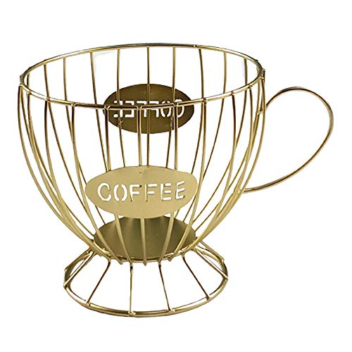 Fenteer Alla moda di Grande Capacità tazza di Caffè Pod Holder Caffè Capsule di Caffè Espresso K Tazza Da Cucina di Stoccaggio Cesti di Stoccaggio - Oro