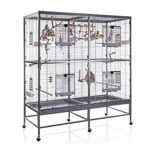 Montana Cages ® | Vogelvoliere Paradiso 150 | Antik-Platinum | Voliere für Wellensittiche, Nymphensittiche & Co.