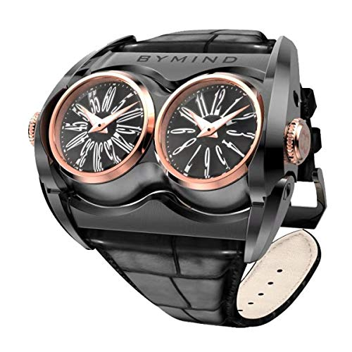 Men's Racing Concept Watch with Dual Time Original Watches for Men-Casual Wrist Quartz Watch Black and Rose Gold Case + Black Strap