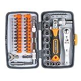 Kedelak Juego de puntas de destornillador de trinquete de precisión de 38 piezas Juego de destornilladores magnéticos Kit de herramientas de reparación electrónica con varilla de extensión de