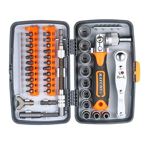 Katerk Juego de destornilladores de trinquete con 38 piezas de destornillador de precisión magnética, herramienta de reparación electrónica