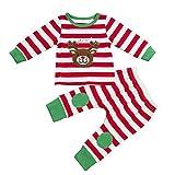 Qiraoxy Neugeborene Baby Weihnachtskleidung Set für Jungen Jungen Mädchen Herbst Winter Langarm Baumwolle Set Rentier T-Shirt Top + Hose 2 Stück Hirsch Kopf Patch Weihnachten Set