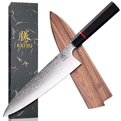 KATSU Kitchen Chef Knife  Damascus Steel  Japanese Kitchen Knife  Handcrafted Octagonal Wood Handle  8inch Wood Sheath amp Gift Box