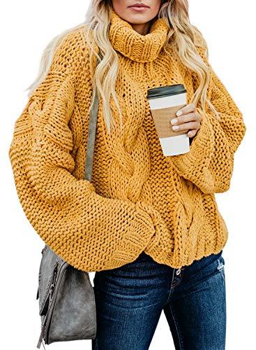 Dokotoo Damen Oversize Rollkragen Lange Ärmeln Strickpullover Grobstrick Kurz Pullover Herbst Winter Sweater Plus Size Pulli Outwear Gelb M größe 40 42