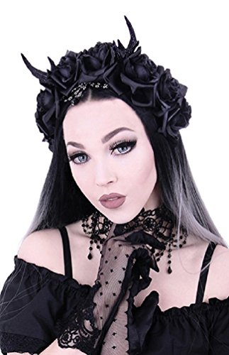 Restyle Gothic Princess Hair Garland Nu Goth Roses Antlers Headband - Black (One-Size)