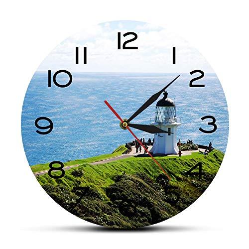 Reloj de pared Cape Reinga Seascape Lighthouse North Island Reloj de pared de diseño moderno Borde norte de Nueva Zelanda Decoración del hogar de viaje Reloj artístico para el hogar Oficina Escuela