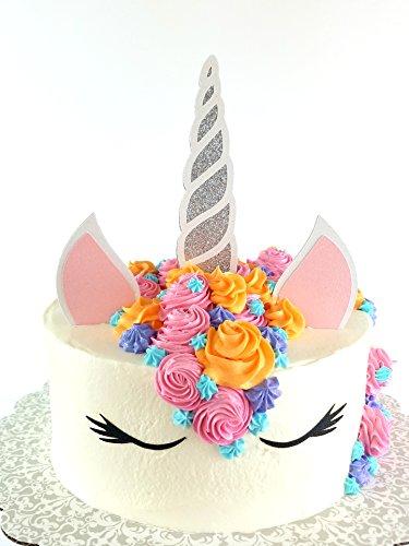 CMS Design Studio Handmade Unicorn Birthday Cake Topper Decoration - Double Sided Glitter Stock (Silver)