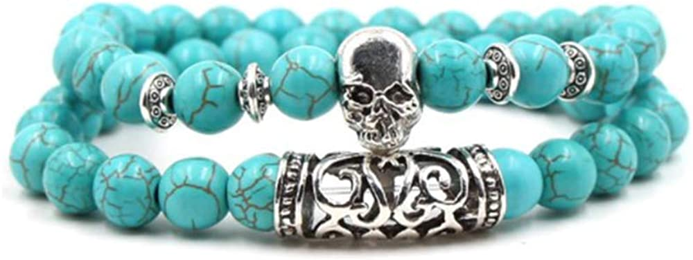 SBI Jewelry Men Women Turquoise Stretch Bracelets Vintage Beads