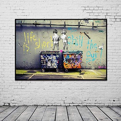 Cuadro decorativo sobre lienzo moderno imaginativo Bansky Graffiti colorido, diseño de calle