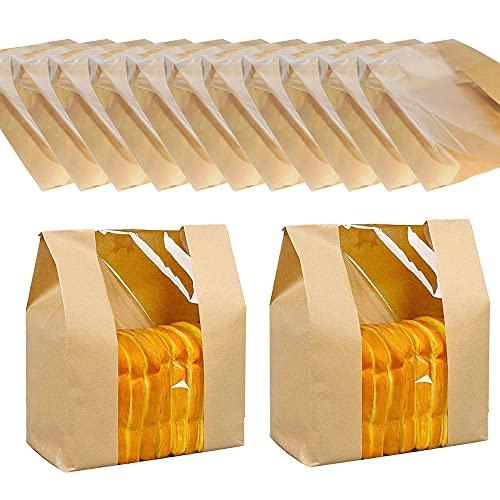 50 Pezzi Sacchetto di Carta del Pane, Sacco di Carta con Finestra, Sacchetto di Carta Kraft Alimentare, Sacchetto di Carta Sandwich, per Confezioni Snack Caramelle al Cioccolato e Torte di Pane