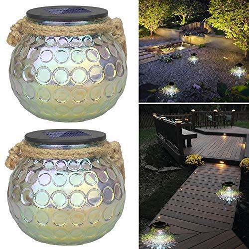 Solarleuchte Glas, Jorft 2 Stück LED Ball Lichter Solarglas Im Einmachglas IP65 Wasserdichte Solarlampe Gartenleuchte Hangeleuchte Jar Licht Aussen Transparent Dekolicht