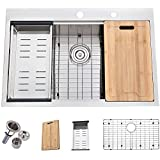 Friho 33'x 22' Inch 18 Gauge Topmount Drop-in Single Bowl Basin Handmade SUS304 Stainless Steel Kitchen Sink,Brushed Nickel Kitchen Sinks With Dish Grid,Dish Drainer,Cutting Board and Basket Strainer