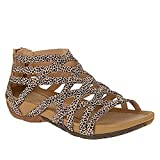 WORLDFYF Round Toe Hollow Roman Gladiator Sandals,Open Toe Hollow Out LAT Sandals Summer,Outdoor Beach Wedges Sandals Gladiator Shoes (Sand Mini SPOT,40)