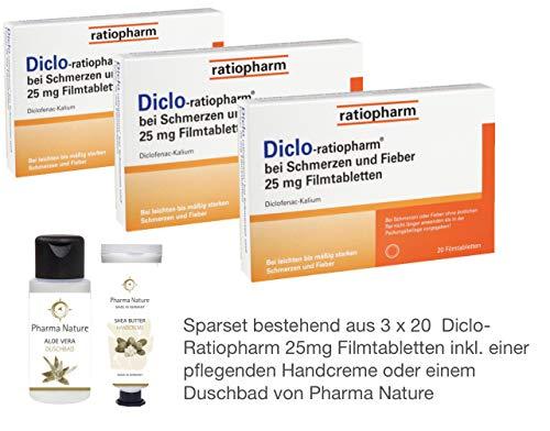 Diclo-Ratiopharm 25mg bei Schmerzen und Fieber, (gleicher Wirkstoff wie Voltaren Dolo) - Sparset 3 x 20 Stück - inkl. einer pflegenden Handcreme o. Duschbad von Pharma Nature