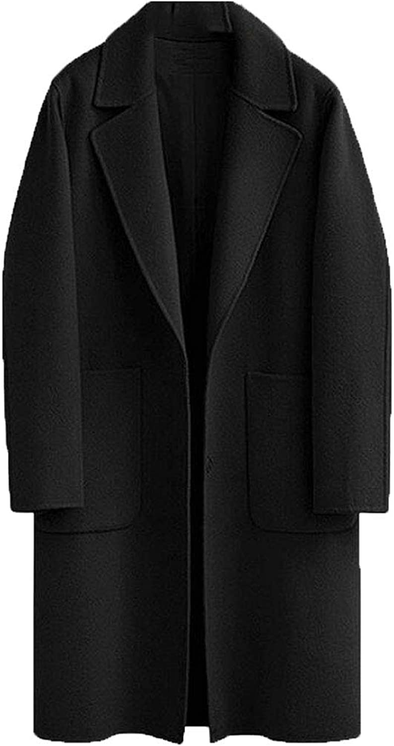 SELX Women Plus Size Wool Blend Notch Lapel Longline Overcoat Pea Coat