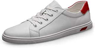 Fashion Sneakers For Men Casual Walking Skate Shoes Lace Up Round Toe Anti-Slip Breathable Genuine Leather Lightweight` Khouses (Color : White, Size : 39 EU)