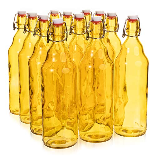 33 oz. Yellow Glass Grolsch Beer Bottle, Quart Size - Airtight Seal with Swing Top/Flip Top - Supplies for Home Brewing & Fermenting of Alcohol, Kombucha Tea, Wine, Homemade Soda (12-pack)